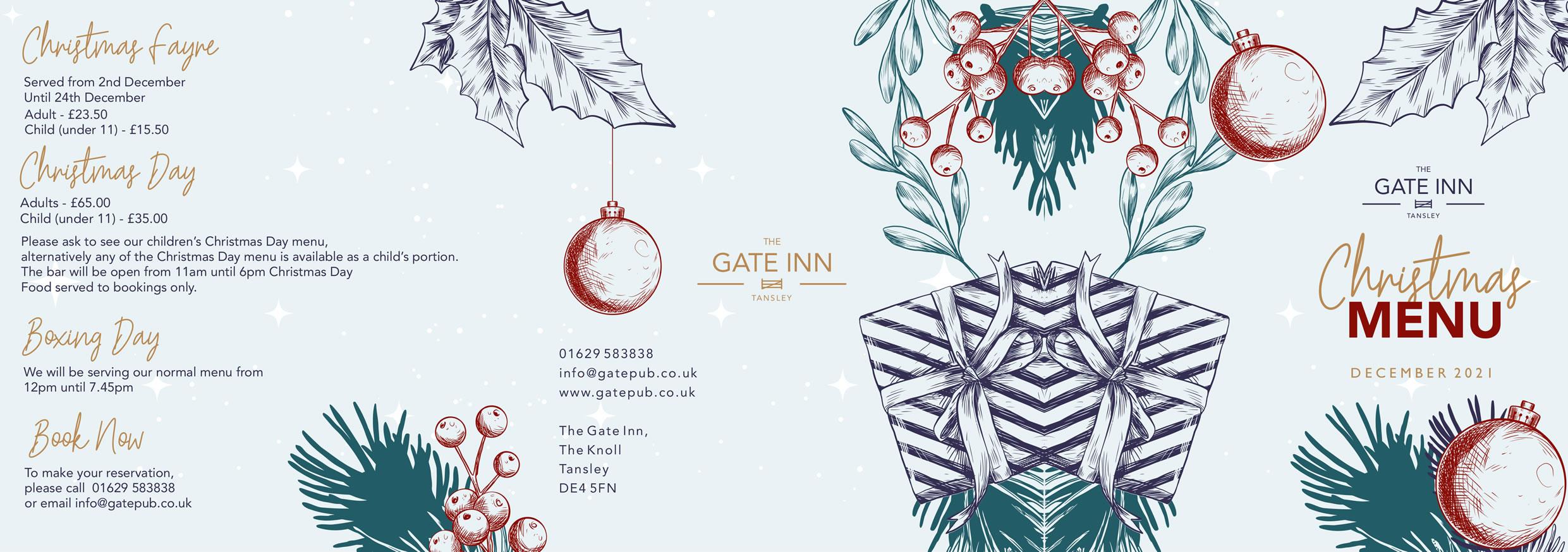 Gate Inn Tansley Christmas Menu 2021
