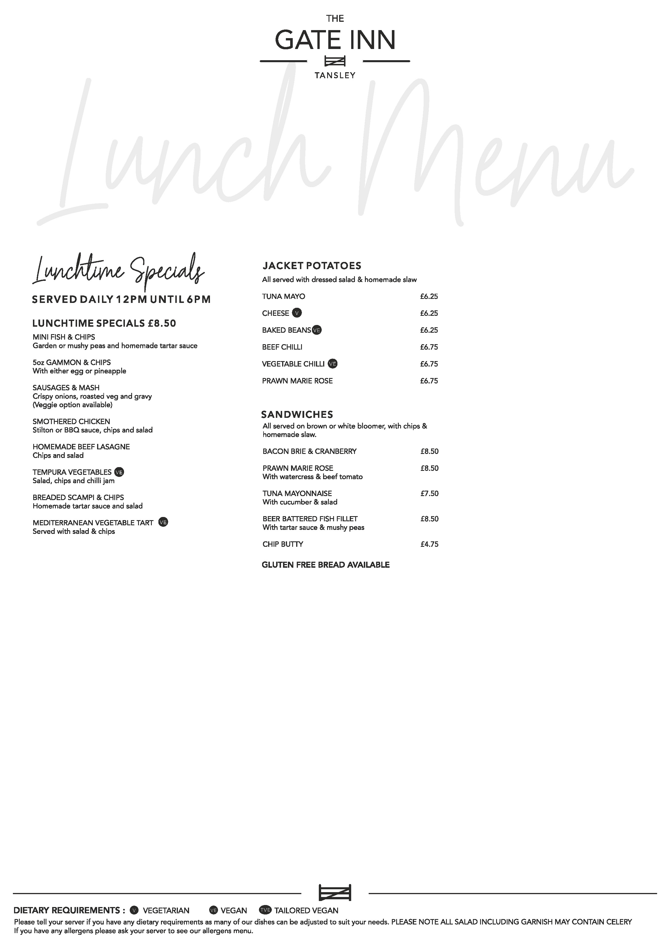Our Lunch Menu